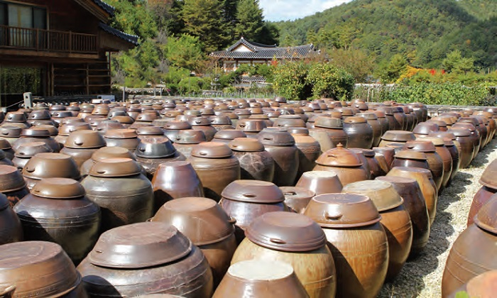 <i>Jangdokdae</i> (Soy Jar Terrace). An area outside the kitchen used to store large brown-glazed pottery jars containing soy paste, soy sauce, and chili paste.