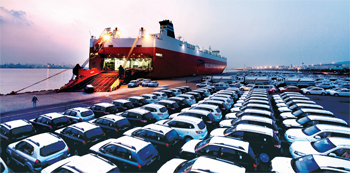 Vehicles lined up for export in Incheon, the largest port on the west coast.
