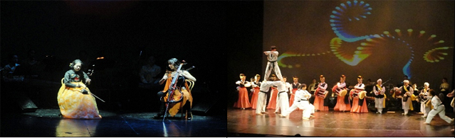 A haegeum and electric cello duet (left) and a joint performance by Taekwondo athletes and traditional musicians and dancers (right) took place at the Korean Culture Festival in Argentina on October 14 (photos courtesy of KOCIS).