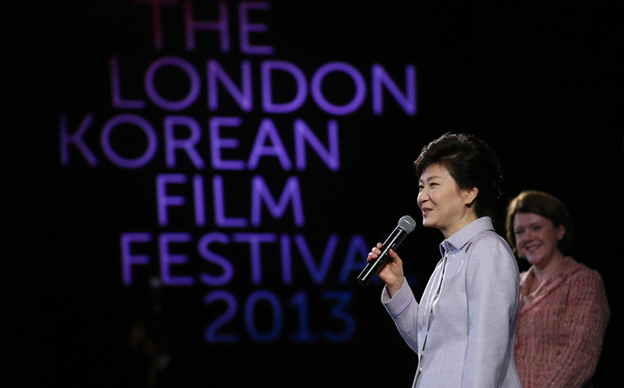 President Park Geun-hye (left) greets viewers at the London Korean Film Festival 2013. (photo: Jeon Han)