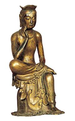 Pensive Bodhisattva, one of Buddhist stautes