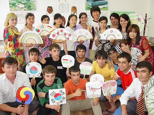 Students of the King Sejong Institute in Dushanbe, Tajikistan participate at the 2011 Korean language summer camp (photo courtesy of the International Korean Language Foundation)