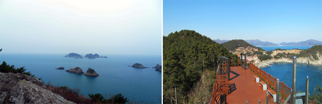 Visitors to Korea's southern coast can enjoy panoramic views of the ocean and nearby island formations (left) at the observation deck on Geoje Island (right) (photos courtesy of the Ministry for Land, Transport and Maritime Affairs).