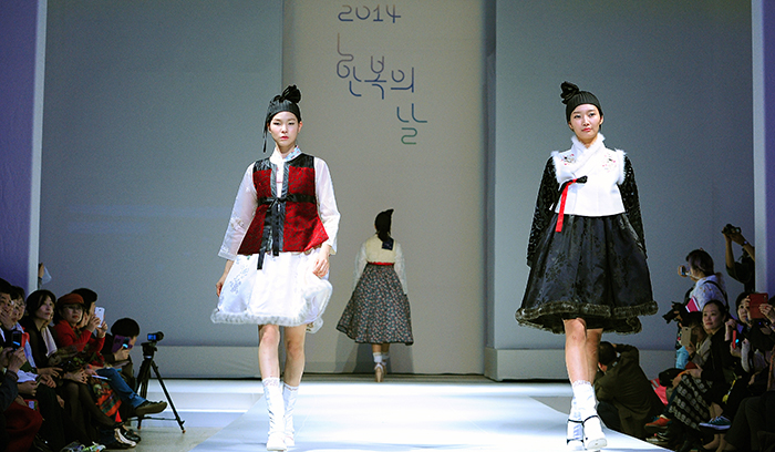 Various Hanbok outfits are showcased at a fashion show on October 25.