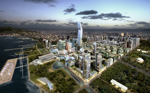 Computer rendering of a USD 6.4 million urban project in Hanoi, Vietnam, by Posco Engineering and Construction. The builder said in July 2011 that the Vietnamese government gave a final approval of the master plan for the project (photo: Yonhap News).