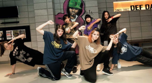 Hip-hop students at DEF Dance School pose for the camera
