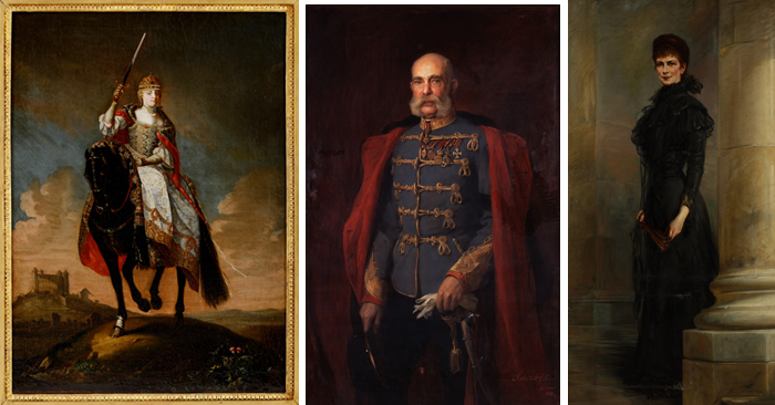 (From left) Portraits of the Habsburg family: Maria Theresa, King Franz Joseph I and Queen Elisabeth (photo courtesy of the National Palace Museum of Korea)