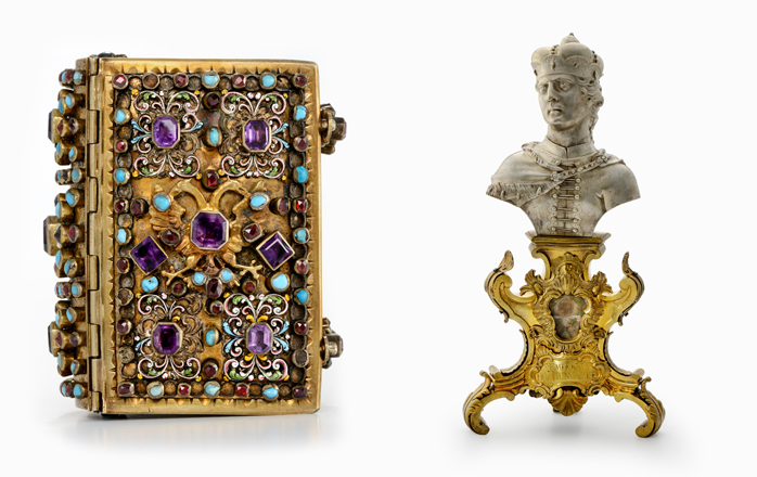 A book cover (left); the reliquary bust of Saint Emeric (photos courtesy of the National Palace Museum of Korea)