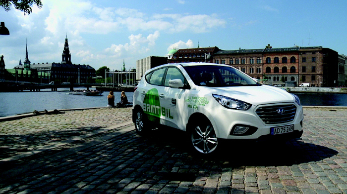 An ix35 Fuel Cell is parked in Copenhagen, Denmark. A total of 15 ix35 Fuel Cell vehicles were delivered to the city in June 2013. (photo courtesy of Hyundai Motor)