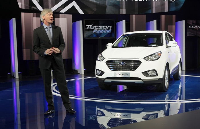 The ix35 Fuel Cell is introduced at the Los Angeles International Auto Show in November 2013. The vehicle is now available for lease in the United States. (photo courtesy of Hyundai Motor)