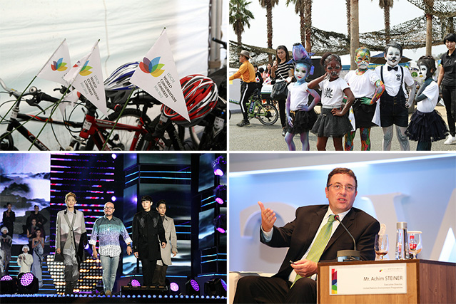 The 2012 IUCN World Conservation Congress is in full swing on Jeju Island. Pictured are (clockwise from top left) bicycles for use by participants, children enjoying outdoor festivities, United Nations Environmental Programme Executive Director Achim Steiner participating in the World Leaders Dialogue event, and designer Lie Sang Bong onstage during a concert on September 8 that also featured K-pop performances (photos courtesy of IUCN).