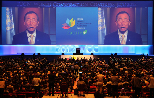 Secretary-General of the United Nations Ban Ki-Moon delivers a video message at the opening ceremony of the 2012 IUCN World Conservation Congress on September 6 (photo: Yonhap News).