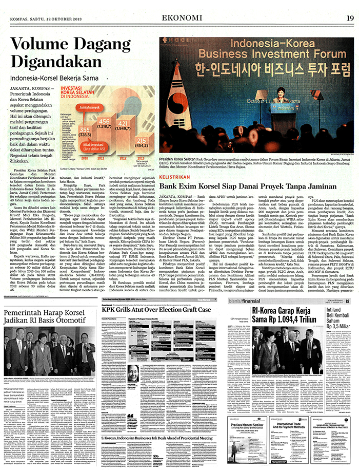 Indonesian daily Kompas reports on Korea-Indonesia relations, bilateral economic cooperation and President Park's state visit. (Photo: Jeon Han).