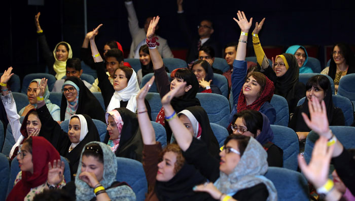 The audience participates in a quiz about Korean TV shows during a screening in Tehran on May 2. Korean soap operas are really popular in Iran and dramas like 'Jewel in the Palace' and 'Jumong' regularly see ratings of over 80 percent in the country.