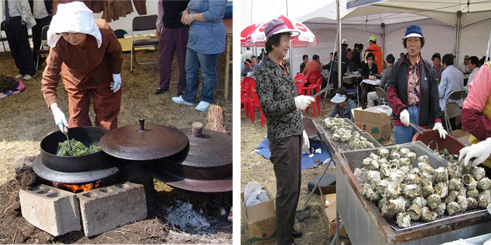 A woman demonstrates how to steam fresh Jeju gosari at the Mt. Halla Gosari Tour Festival (left). The Woo-do Island Conch Festival is a great opportunity to charbroil and eat fresh conches and other Jeju seafood (right) (photos courtesy of the City of Seogwipo).