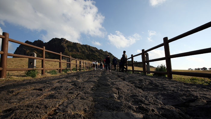 The bottom of the entrance to the Seongsan <i>Ilchulbong</i> is covered with basalt. Basalt can be easily found on Jejudo Island, reminding visitors that the island was created through volcanic activity.