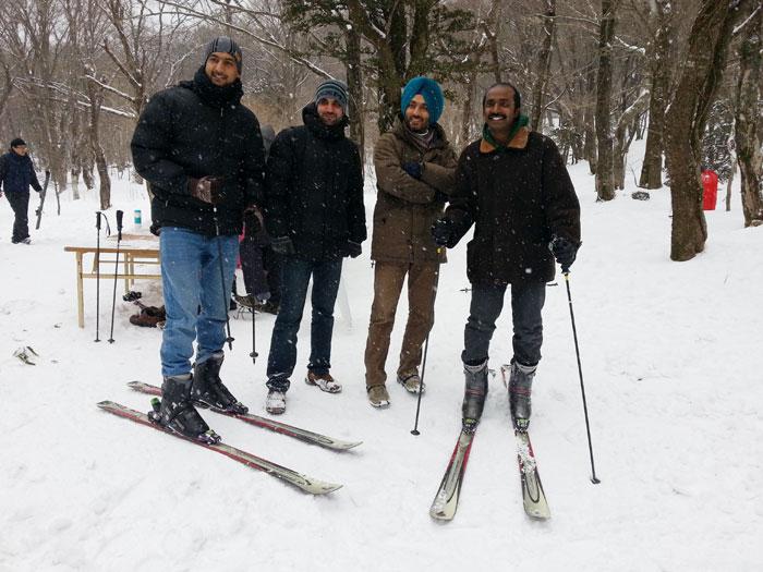 Tourists enjoy skiing on Hallasan Mountain.