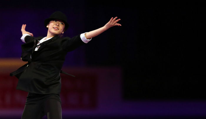 Kim performs at the gala show of the 2013 World Figure Skating Championships in London, Ontario, Canada, on March 18 (photo: Yonhap News).