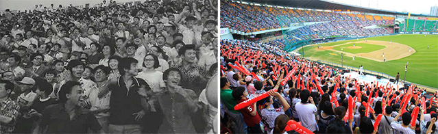 The number of spectators attending Korea's professional baseball games reached 6 million people for the second season in a row. Pictured are fans at a baseball game in 1973 at Dongdaemun Stadium (left) and fans at Jamsil Stadium in 2012 (right) (photos: Ministry of Public Administration and Security, Yonhap News).
