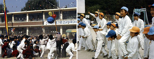 Elementary school students participate in schoolwide athletics day events, including a game in which players take turns smashing a gourd full of confetti while blindfolded (left) and the Korean version of the chicken fight, in which one person in each team is carried by his teammates while he tries to topple competing players (photo courtesy of the National Archives of Korea).