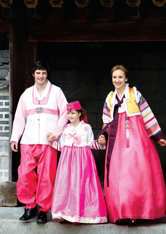 A family wearing Hanbok