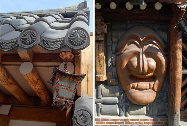 Left: Traditional architecture can be found in the unlikeliest corners of Pimatgol. Right: A restaurant is adorned with a giant yangban mask, which originally served as a parody of the aristocracy.