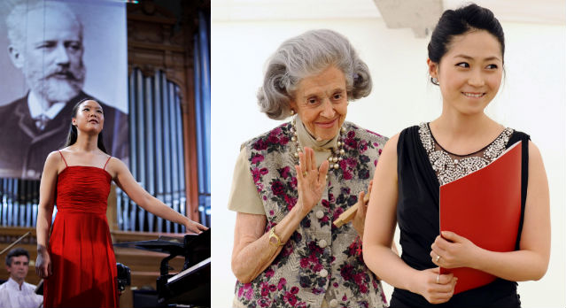 (left) Pianist Son Yeol-eum won second prize at the 14th International Tchaikovsky Competition in June 2011; (right) Queen Fabiola of Belgium congratulates Soprano Hong Hae-ran, winner of the 2011 Queen Elisabeth International Competition (photos: Yonhap News).