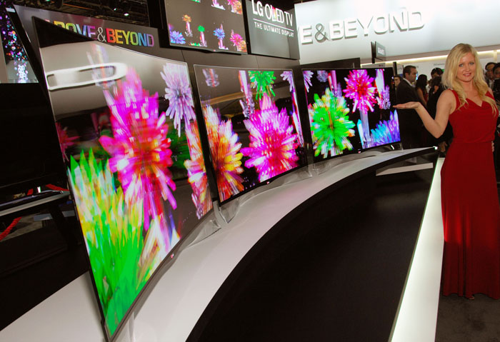 Three curved OLED TVs were revealed by LG Electronics on January 8 for the first time at the 2013 International CES held in Las Vegas (photo: LG Electronics).