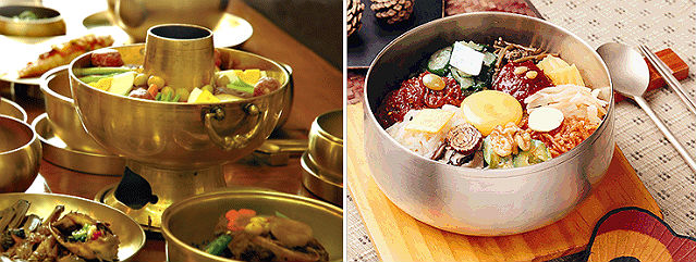 Korean Table d'hote, also known as Hanjeongsik offers multi-course meals that please your appetite (left); Jeonju bibimbap is the beloved traditional dish made with rice, a mixture of various fresh vegetables, and authentic natural sauce of gochujang (photos courtesy of Jeonju City).