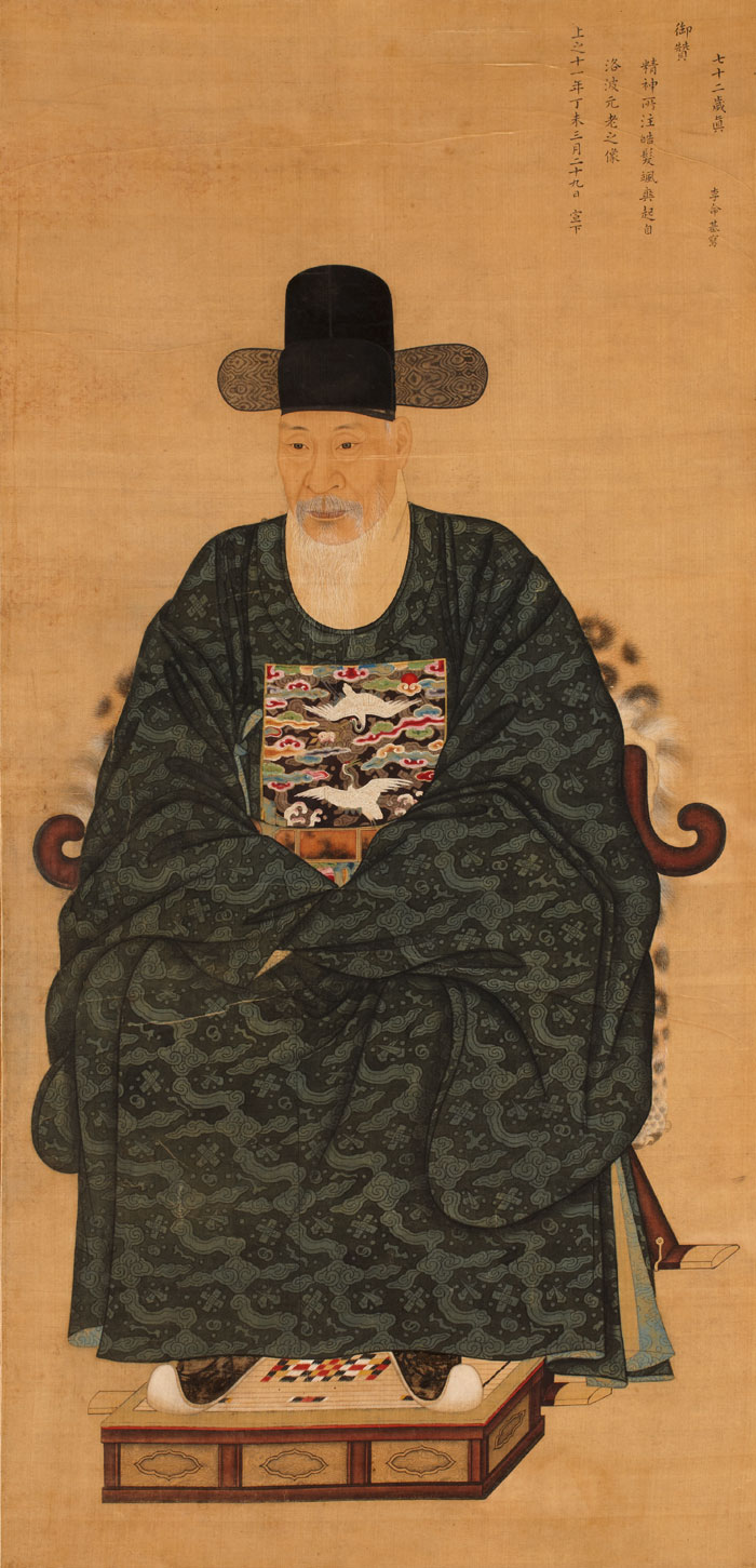 Portrait of Kim Chi-in, painted by court painter Yi Myeong-gi in 1787, ink and color on silk. King Jeongjo praised the painting in the top right corner.