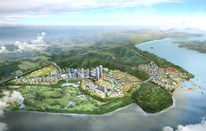 An artist's concept of a bird's eye view of the resort complex that will be built on Yeongjongdo Island in Incheon. (courtesy of the Incheon Free Economic Zone Authority)