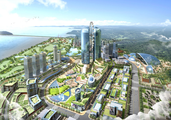 An artist's concept of the central business district that will be built on Yeongjongdo Island in Incheon. (courtesy of the Incheon Free Economic Zone Authority)
