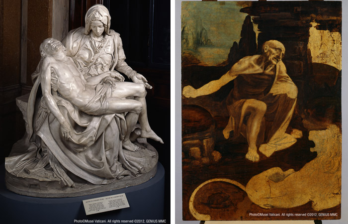 "(From left) ""Cast of Michelangelo's Pietà,"" 1975, Laboratorio Marmi dei Musei Vaticani, after the original in St. Peter's Basilica (1498-99), 175x195츠 / ⓒMusei Vaticani. All rights reserved ⓒ 2012, GENIUS MMC //""St. Jerome in the Wilderness,"" Leonardo da Vinci, Tempera and oil on walnut panel, da Vinci 1452 - Amboise 1519, 103x75cm / ⓒ Musei Vaticani. All rights reserved ⓒ2012,GENIUS MMC"