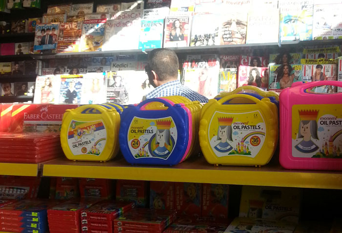 Monami's oil pastels are on display at a stationery shop in Turkey.