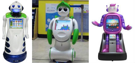From left: Kiro, produced by the Robot Institute and introduced at Robot World 2011; a Kiro prototype installed at the National Folk Musem; Sia, a service robot at Bucheon City Hall