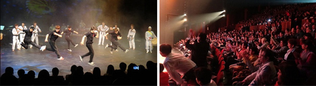 B-boy and taekwondo teams (left) share a stage in Mexico City in October 2011. All of the 1,000 seats of the Teatre Julio Castillo (right) were filled (Photo courtesy of KOCIS).