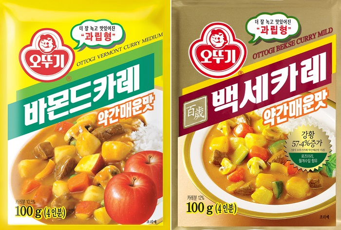 Ottogi launches a new line of curries, Vermont Curry (left) and <i>Bekse</i> Curry.