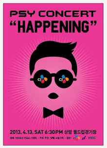 "A poster of PSY's upcoming concert titled ""Happening"" (photo courtesy of YG Entertainment)"
