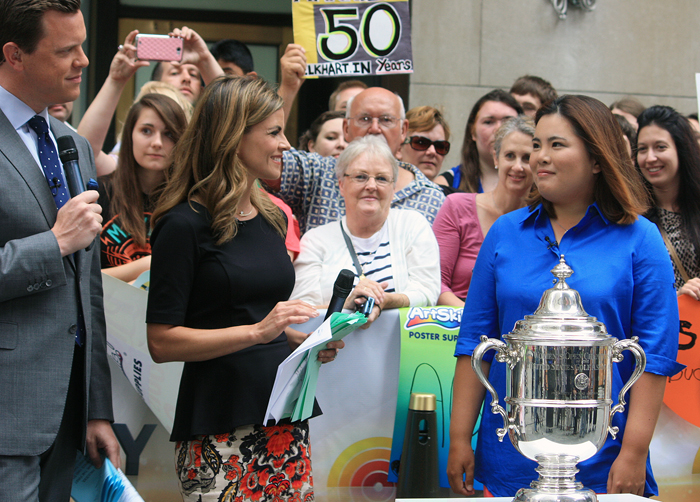 Park Inbee (right) is interviewed by NBC's Today Show live after winning the U.S. Women's Open on July 1 (photo courtesy of JB Worldwide).