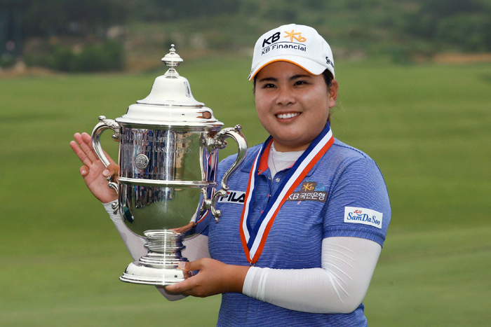 Park Inbee poses with her trophy after winning the U.S. Women's Open at Sebonack Golf Club in Southampton, NY, on July 1 (photo courtesy of JB Worldwide).