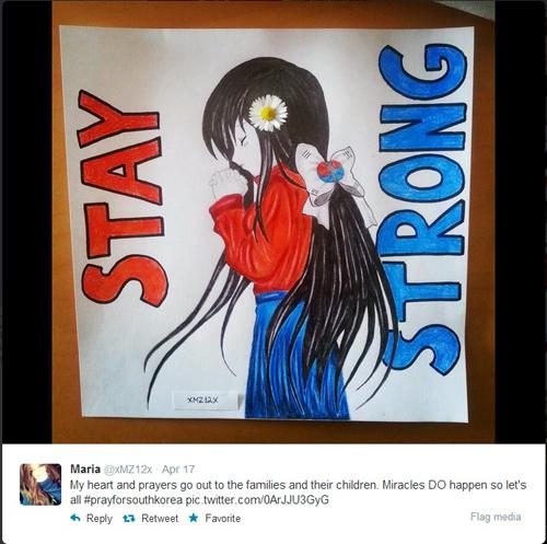 트위터에 올라온 세월호 피해자들과 유족들을 위한 애도의 마음을 담은 그림. (사진캡쳐: 트위터)