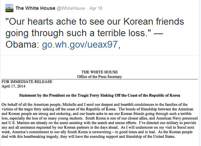 The White House sends condolences to the ferry victims and their families via its official Twitter. (captured from the White House official Twitter)