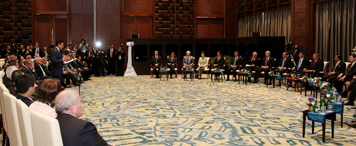 President Park Geun-hye attends the APEC Business Advisory Council on October 7. (Photo: Cheong Wa Dae)