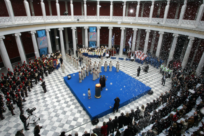 The torch for the PyeongChang Special Olympics World Winter Games 2013 is lit during a lighting ceremony at Zappeion Hall in Athens, Greece on January 17, 2013 (Photo: Yonhap News).