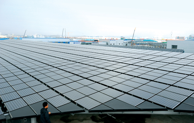 Photovoltaic energy facilities were built in 2009 in LED Valley, a high-tech industrial complex in Gwangju