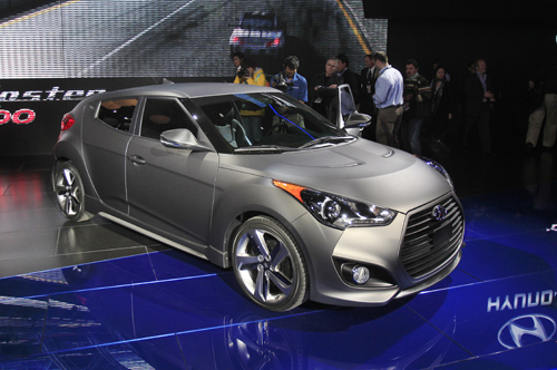 The Hyundai Veloster Turbo is displayed at the 2012 North American International Auto Show in Detroit.