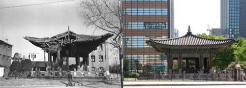 The 40th Anniversary Monument of Gojong's Enthronement, during the Korean War (left; by James Martenhoff) and today (right) (photo courtesy of the Seoul Museum of History)