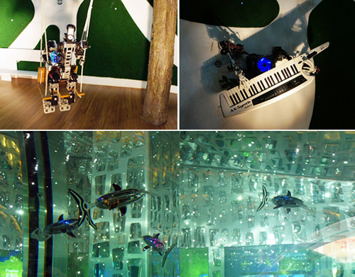 At the France Pavilion, one robot rides a swing (top left) while another plays a keyboard (right). Robot fish (bottom) also swim in a tank (photos courtesy of the Expo 2012 Yeosu Korea Organizing Committee).