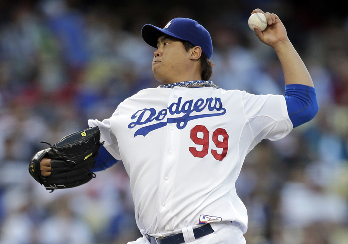 Ryu Hyun-jin of the LA Dodgers earns his first MLB complete game shutout by defeating the LA Angels on May 28 (photo: Yonhap News).