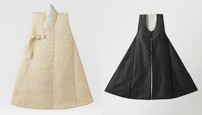 The <i>dapho</i> (left) is a short-sleeved garment usually worn over an outer coat and the <i>jeonbok</i> is a sleeveless, collarless robe worn over the <i>durumagi</i>.